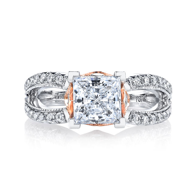 Item # E7044E View 2 - Rose & White Gold Diamond Engagement Ring