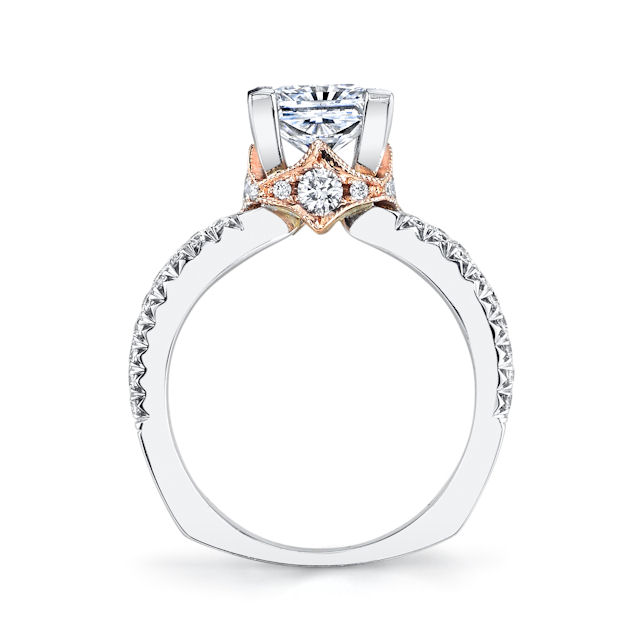 Item # E7044E View 3 - Rose & White Gold Diamond Engagement Ring