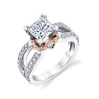 Item # E7044 - Rose & White Gold Diamond Engagement Ring