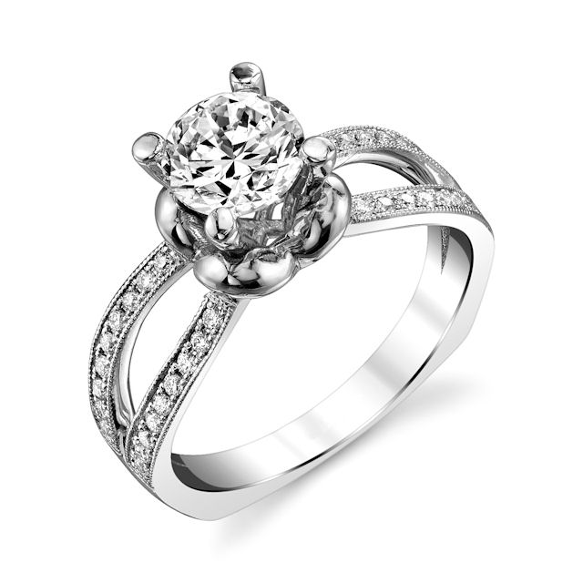 Item # E7045W - 14kt white gold, diamond engagement ring. There are about 36 round brilliant cut diamonds set in the ring. The diamonds are about 0.20 ct tw, VS1-2 in clarity and G-H in color. Center stone is sold separately and in different sizes. Pictured is a 1.0 carat diamond.
