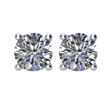 Item # E70501PP - Platinum,  1/2 ct total weight  screw post , diamond stud earrings. Diamonds are graded as VS in clarity G-H in color.