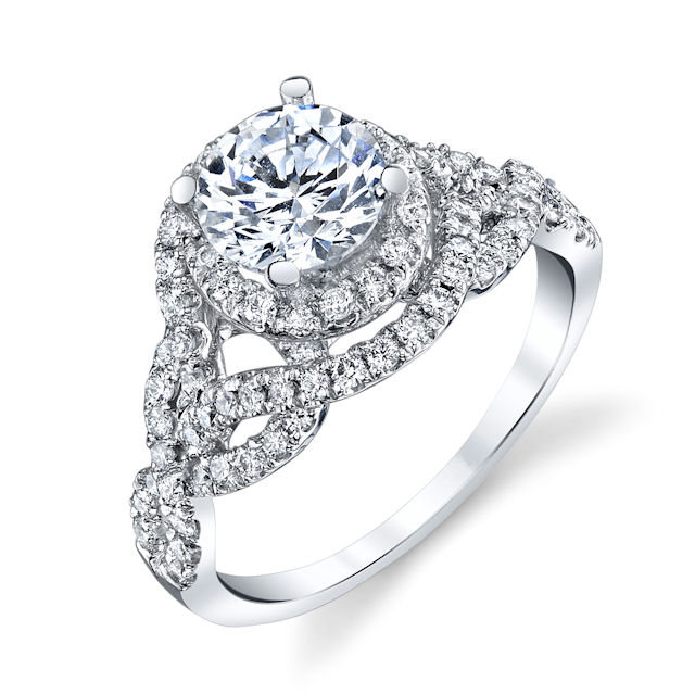 Item # E7056W - 14kt white gold, diamond, scupltural, halo engagement ring. There are about 90 round brilliant cut diamonds set in the ring. The diamonds are about 0.55 ct tw, VS1-2 in clarity and G-H in color. Center stone is sold separately and in different sizes. Pictured is a 1.0 carat diamond.