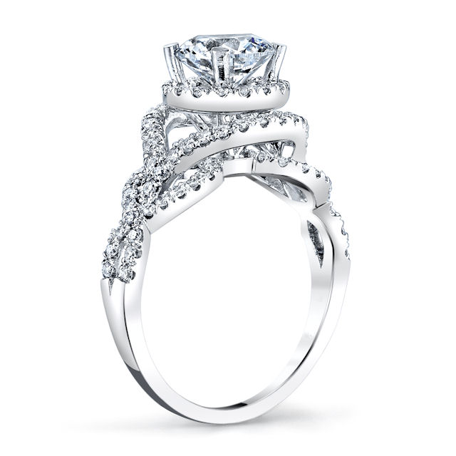 Item # E7056W View 2 - 14K White Gold  Diamond Halo Engagement Ring