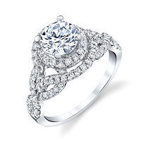 Item # E7056WE - 18K White Gold Diamond Halo Engagement Ring