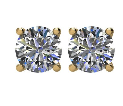 Item # E70751E - 18K gold 0.75ct total weight  friction back diamond stud earrings. Diamonds are graded as SI in clarity I-J in color.
