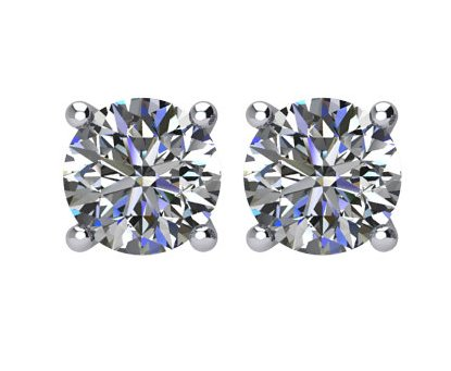 Item # E70751W - 14K white gold, 0.75 ct total weight,  friction back diamond stud earrings. Diamonds are graded as I1 in clarity I-J in color.