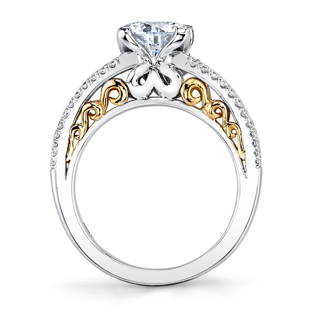 Item # E7082E View 2 - Rose & White Gold Engagement Ring