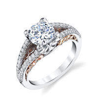 Item # E7082E - 18K Rose & White Gold Engagement Ring