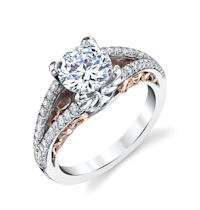 Item # E7082 - 14K Rose & White Gold Engagement Ring