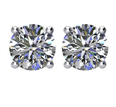 Item # E71001PP - Platinum, 1.0 ct total weight, screw post, diamond stud earrings. Diamonds are graded as VS in clarity G-H in color.