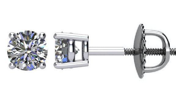 Item # E71001WE View 2 - 18K Diamond Stud Earrings