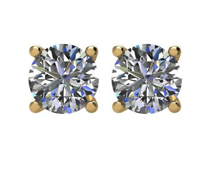 Item # E71501E - 18K  gold, 1.50ct total weight,  friction back diamond stud earrings. Diamonds are graded as SI in clarity I-J in color.