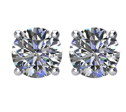 Item # E71501W - 14K white gold, 1.5 ct total weight, screw post, diamond stud earrings. Diamonds are graded as I1 in clarity I-J in color.