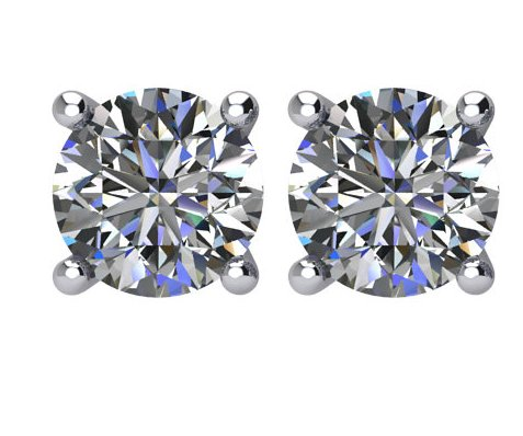 Item # E72001WE - 18K white  gold, 2.00ct total weight,  friction back  diamond stud earrings. Diamonds are graded as SI in clarity I-J  in color.