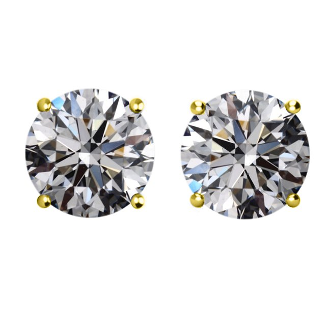 Item # E73001E - 18K gold, 3.0ct total weight,  friction back  diamond stud earrings. Diamonds are graded as SI in clarity I-J  in color.