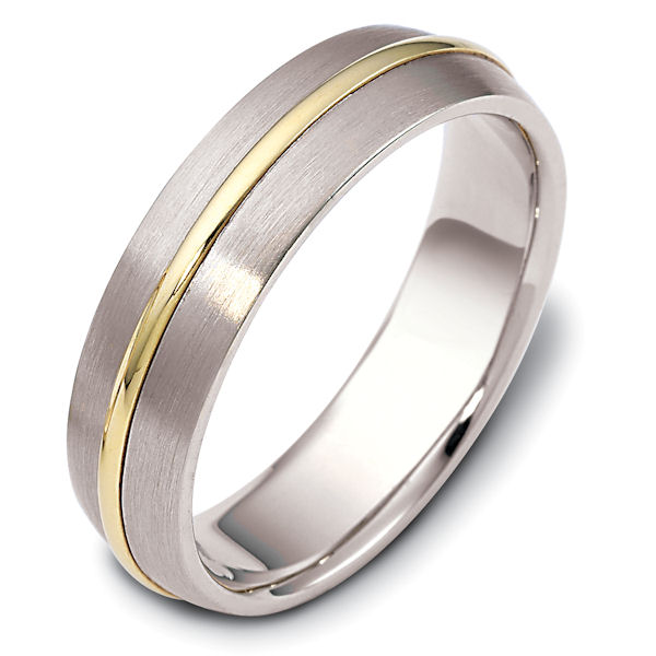 Item # F116171 - 14 kt two-tone, brushed top with polished center ring, comfort fit Wedding Band 6.0 mm wide. Other finishes may be selected or specified.