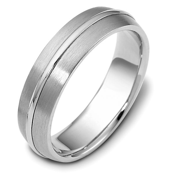 Item # F116171W - 14 kt white gold, brushed top with polished center ring, comfort fit, 6.0 mm wide wedding band. Other finishes may be selected or specified.
