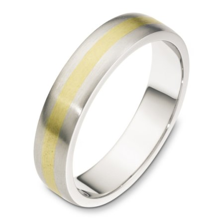 Item # F118751E - 18 kt two-tone gold hand made comfort fit Wedding Band 5.0 mm wide. The finish on the ring is matte. Other finishes may be selected or specified.