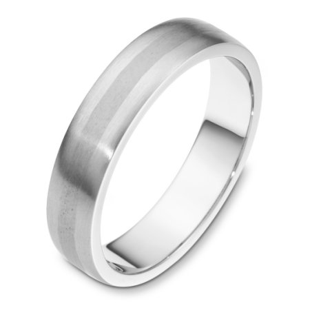 Item # F118751W - 14 kt white gold, hand made comfort fit, Wedding Band 5.0 mm wide. The finish on the ring is matte. Other finishes may be selected or specified.