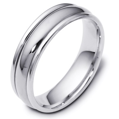 Item # F119591W - 14K white gold, 6.0 mm wide, comfort fit wedding band. The finish on the ring is polished. Other finishes may be selected or specified.