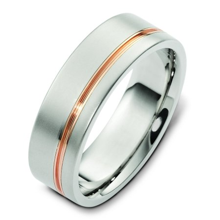 Item # F125751 - 14 K white gold with a rose or yellow gold stripe, comfort fit, 7.0 mm wide wedding band. Please specify stripe color in comments section when purchasing ring. The finish on the ring is matte and the stripe is polished. Other finishes may be selected or specified.