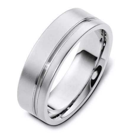 Item # F125751AG - Sterling silver, comfort fit, 7.0 mm wide wedding band. The finish on the ring is matte and the stripe is polished. Other finishes may be selected or specified.