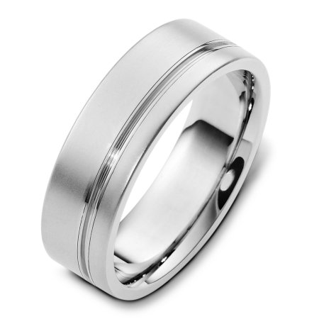 Item # F125751WE - 18 K white gold, comfort fit, 7.0 mm wide wedding band. The finish on the ring is matte and the stripe is polished. Other finishes may be selected or specified.