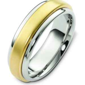 Item # F125791E - 18K two-tone gold 7.0 mm wide, comfort fit wedding band. The finish in the center is matte and the outer edges are polished. Other finishes may be selected or specified.