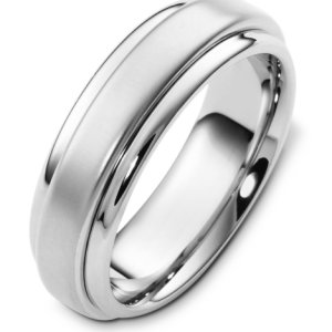 Item # F125791W - 14K white gold 7.0 mm wide, comfort fit wedding band. The finish in the center is matte and the outer edges are polished. Other finishes may be selected or specified.