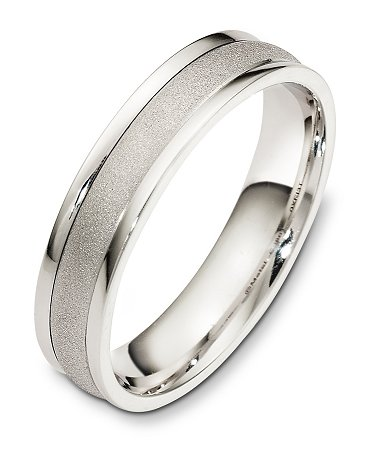 Item # F128611WE - 18K white gold, comfort fit, 5.0 mm wide wedding band. The band center is coarse matte finished the sides are high polished. Other finishes may be selected or specified.