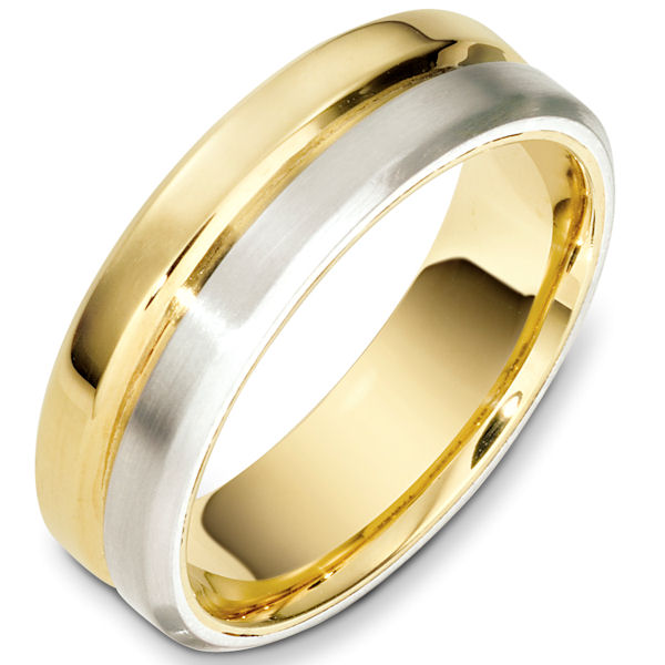 Item # F133241E - 18kt Two-tone gold contemporary comfort fit, 7.0mm wide wedding band. Half of the ring has a matte finish and the other has a polished finish. Different finishes may be selected or specified.