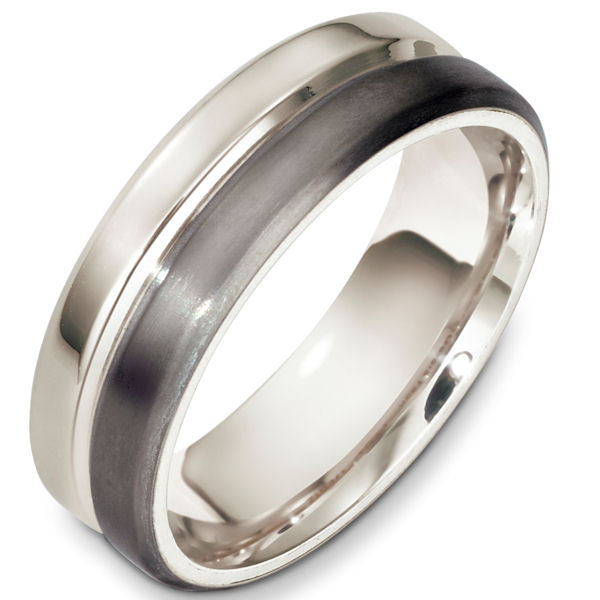 Item # F133241TP - Titanium and platinum contemporary, comfort fit, 7.0mm wide wedding band. The titanium portion is a matte finish and the white gold is polished. Different finishes may be selected or specified.