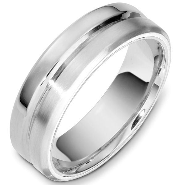 Item # F133241WE - 18kt White gold contemporary comfort fit, 7.0mm wide wedding band. Half of the ring has a matte finish and the other has a polished finish. Different finishes may be selected or specified.