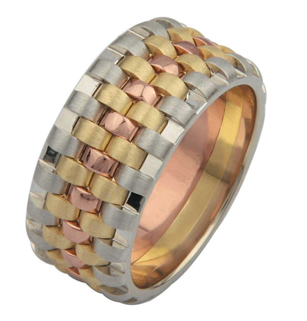 Item # F3056012E - One 18 kt tricolor gold, comfort fit, 9.25 mm wide unique wedding band. Please allow us 3 weeks to manufacture this ring. Color combination can be made to you specification.