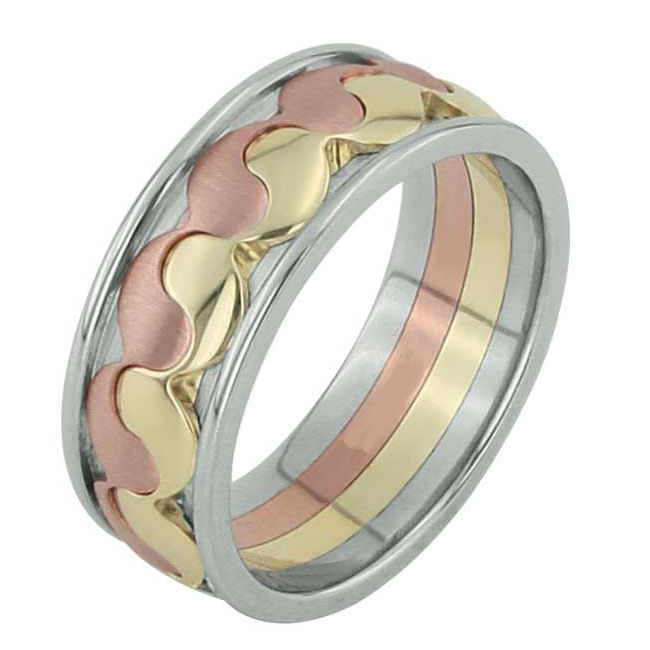 Item # F3060012 - One 14 kt tri-color gold, comfort fit wedding band. the band weighs 12.0 gr. This wedding ring is a symbol of balance and eternal stability. Please allow us 3 weeks to manufacture the wedding ring