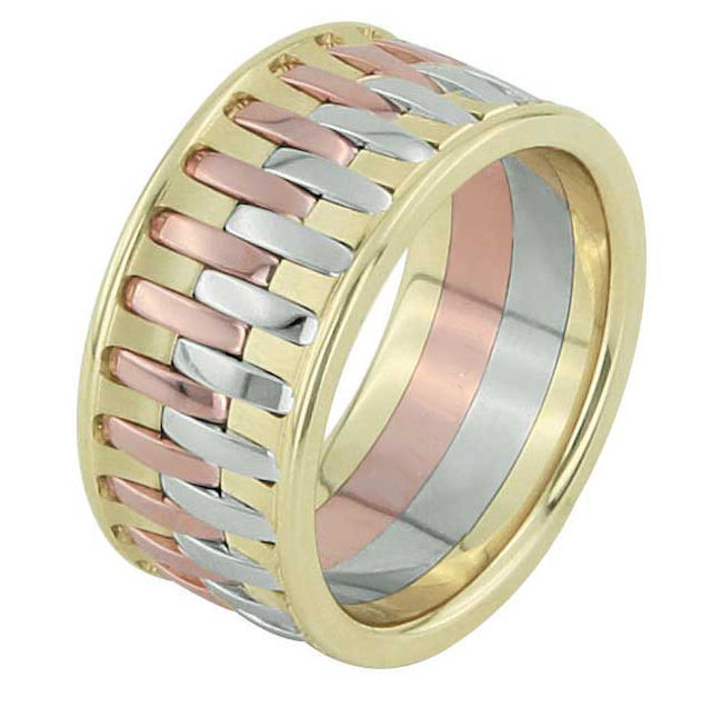 Item # F3064123 - One 14 kt tri color gold, comfort fit, 10.90mm wide wedding band. Please allow us 3 weeks to manufacture the wedding ring.