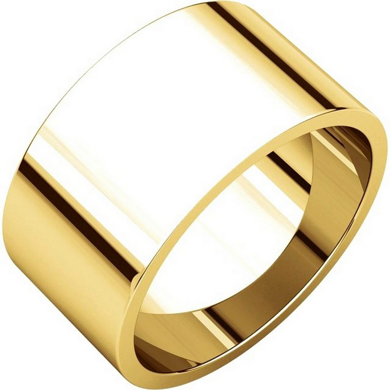 Item # F33661E - 18 kt yellow gold, 10.0 mm wide, flat, plain wedding band. The finish on the ring is polished. Other finishes may be selected or specified.