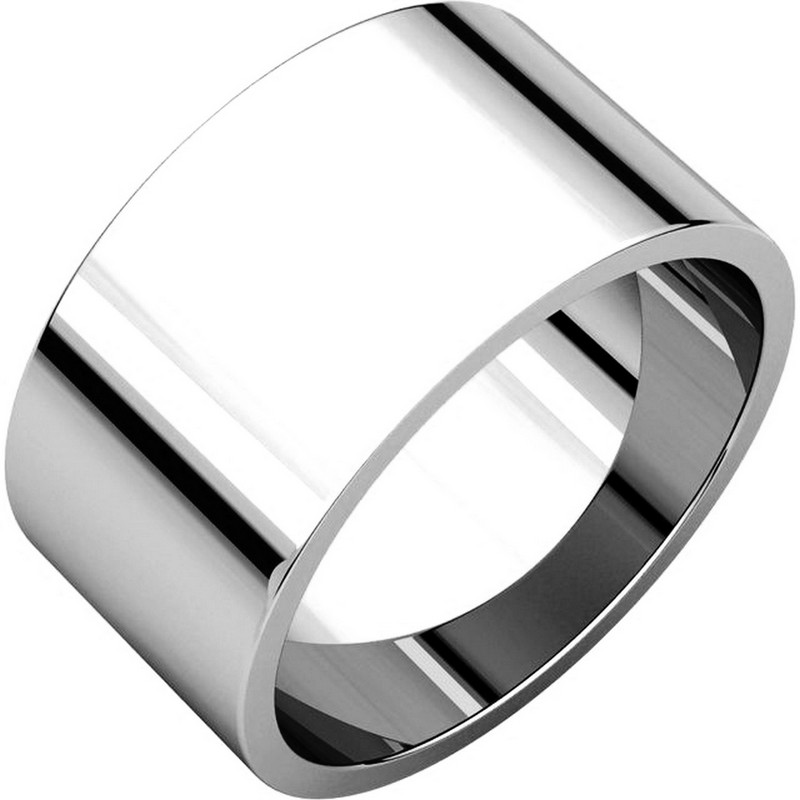 Item # F33661PP - Platinum, 10.0 mm wide, flat, plain wedding band. The finish on the ring is polished. Other finishes may be selected or specified.