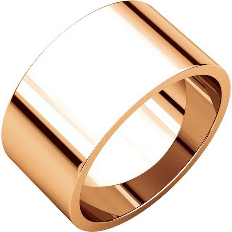 Item # F33661R - 14 kt Rose gold, 10.0 mm wide, flat, plain wedding band. The finish on the ring is polished. Other finishes may be selected or specified.