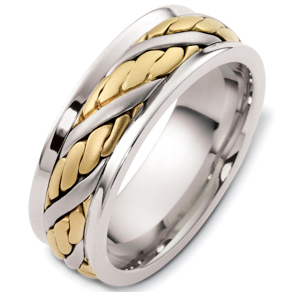 Item # G125891E - 18kt Two-tone gold handcrafted, comfort fit, 7.5mm wide wedding band. The ring has a beautiful hand crafted design in the center that has a satin brush finish. The edges are polished. Different finishes may be selected or specified.