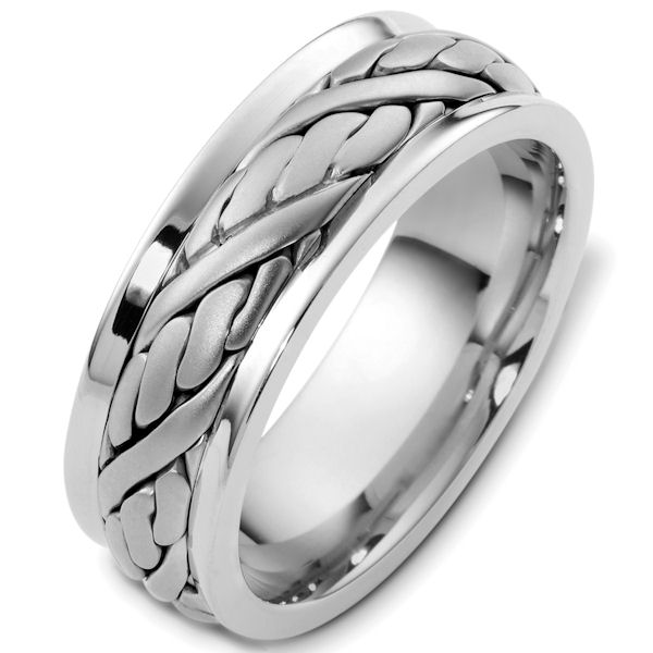 Item # G125891W - 14kt White gold handcrafted, comfort fit, 7.5mm wide wedding band. The ring has a beautiful hand crafted design in the center that has a satin brush finish. The edges are polished. Different finishes may be selected or specified.