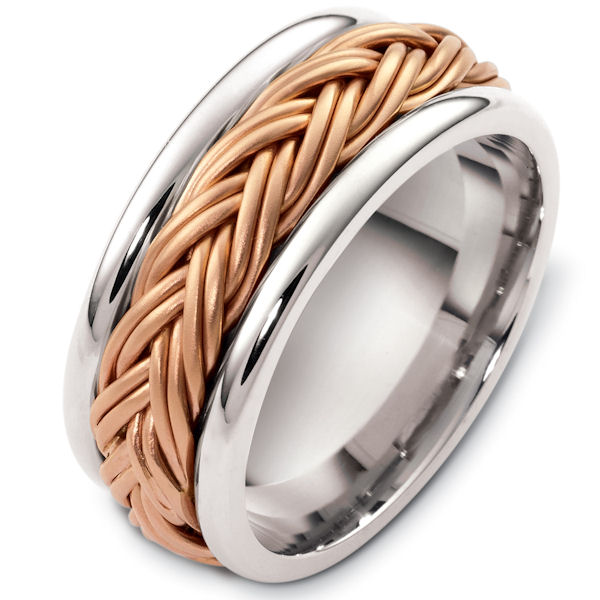 Item # G125901RE - 18kt Rose and white gold handcrafted, comfort fit, 7.5mm wide wedding band. The ring has a beautiful handcrafted braid in the center that has a matte finish. The edges are polished. Different finishes may be selected or specified.