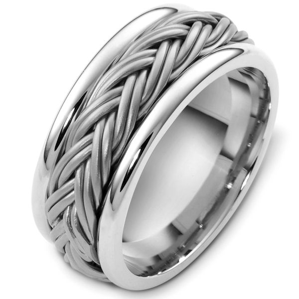 Item # G125901WE - 18kt White gold handcrafted, comfort fit, 7.5mm wide wedding band. The ring has a beautiful handcrafted braid in the center that has a matte finish. The edges are polished. Different finishes may be selected or specified.