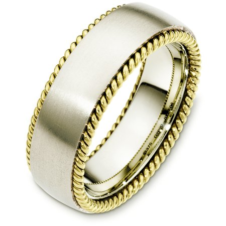 Item # G126291E - 18 Kt Two-Tone wedding band, 7.5 mm wide, comfort fit wedding band. The ring has two hand made ropes on each side of the band. The center of the ring is matte and the ropes are polished. Other finishes may be selected or specified.