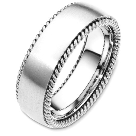 Item # G126291W - 14 Kt White gold wedding band, 7.5 mm wide, comfort fit wedding band. The ring has two hand made ropes on each side of the band. The center of the ring is matte and the ropes are polished. Other finishes may be selected or specified.