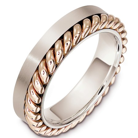Item # G133321E - 18 Kt Two-tone wedding band, 5.5 mm wide, comfort fit wedding band. The rope is in rose gold but can be made in yellow gold by request in the comment section. The colors of the gold may also be reversed. Please mention in the comment section for any changes. The finish on the rope is polished and the rest of the band is matte. Other finishes may be selected or specified.