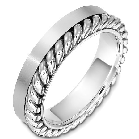 Item # G133321W - 14 Kt White gold wedding band, 5.5 mm wide comfort fit wedding band. There is one hand made rope on one side of the ring. The finish on the rope is polished and the rest of the band is matte. Other finishes may be selected or specified.