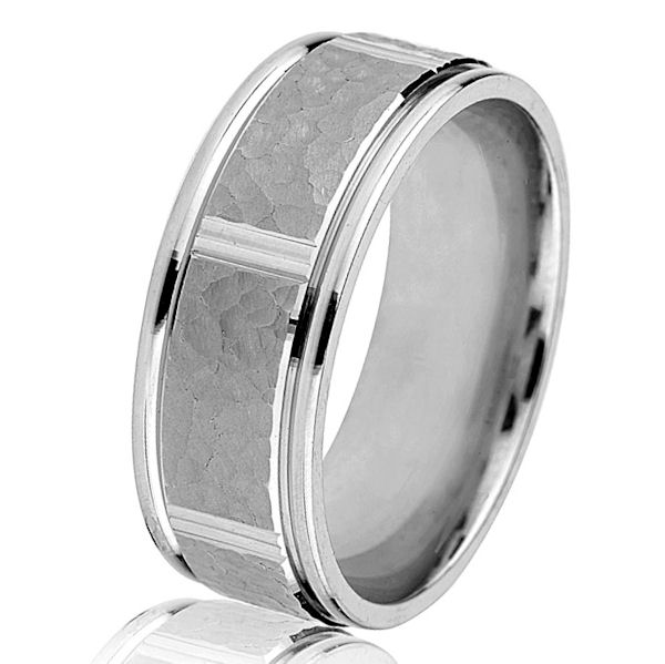 Item # G14549WE - 18kt white gold, classic, 8mm wide, comfort fit wedding ring. The center of the ring has a hammered and matte finish with polished edges. The ring is 8.0 mm wide. Other finishes may be selected or specified.