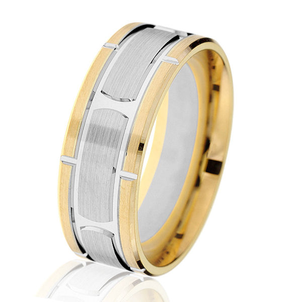 Item # G14647E - 18kt two-tone gold, brick-style, classic, 8mm, comfort fit wedding ring. The center is made with white gold with a brush finish and the edges are yellow gold with a polished finish. Other finishes may be selected or specified. The ring is 8.0 mm wide.