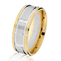 Item # G14647 - 14K Two-Tone Brick-Style Classic Wedding Ring